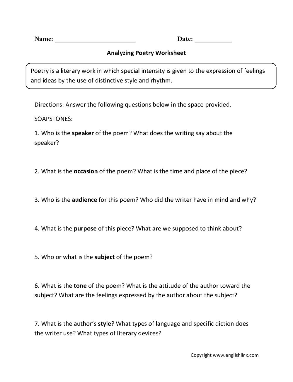 medium resolution of Englishlinx.com   Poetry Worksheets