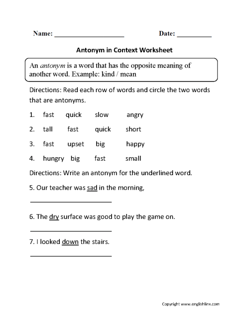 small resolution of Vocabulary Worksheets   Synonym and Antonym Worksheets