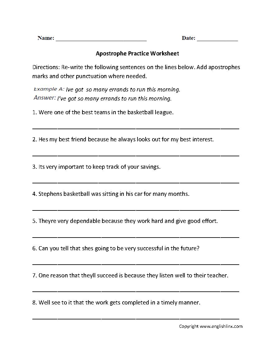 medium resolution of Punctuation Worksheets   Apostrophe Worksheets