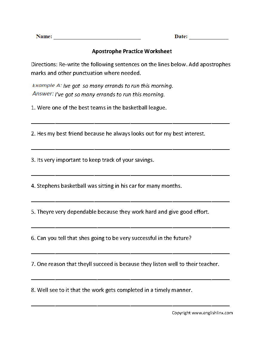hight resolution of Punctuation Worksheets   Apostrophe Worksheets