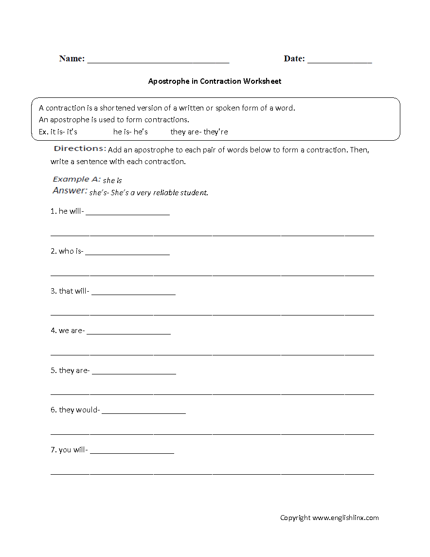 hight resolution of Contractions Worksheet Cursive   Printable Worksheets and Activities for  Teachers
