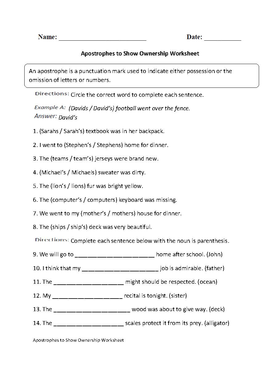 medium resolution of Englishlinx.com   Apostrophes Worksheets