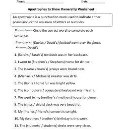 Apostrophes Worksheets   Apostrophes to Show Ownership Worksheet [ 1188 x 910 Pixel ]