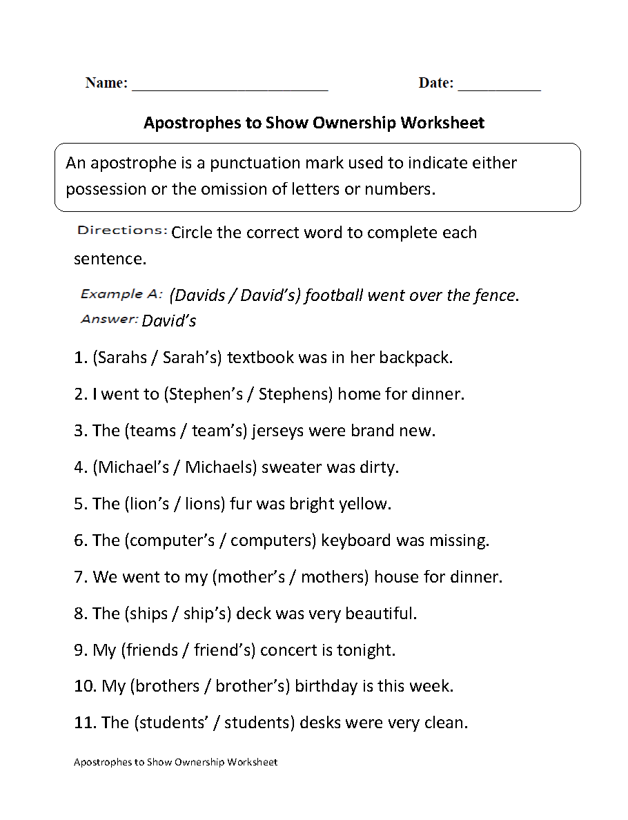 medium resolution of Apostrophes Worksheets   Apostrophes to Show Ownership Worksheet