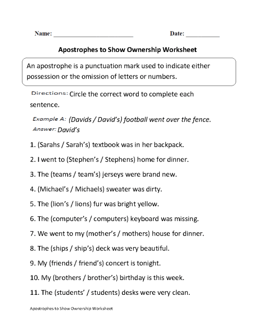 small resolution of Apostrophes Worksheets   Apostrophes to Show Ownership Worksheet