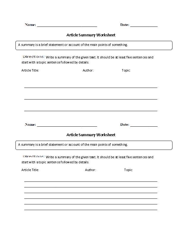 Englishlinxcom  Summary Worksheets