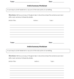 Reading Worksheets   Summary Worksheets [ 1144 x 884 Pixel ]
