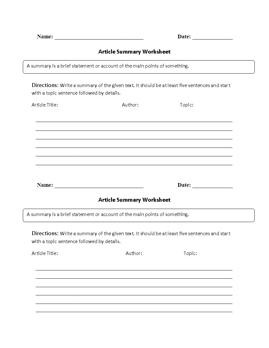 medium resolution of Reading Worksheets   Summary Worksheets