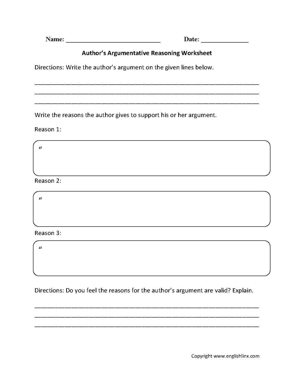 medium resolution of Reading Comprehension Worksheets   Author's Argumentative Reasoning Reading  Comprehension Worksheets