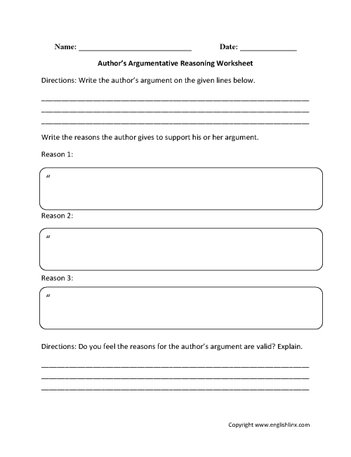 small resolution of Reading Comprehension Worksheets   Author's Argumentative Reasoning Reading  Comprehension Worksheets