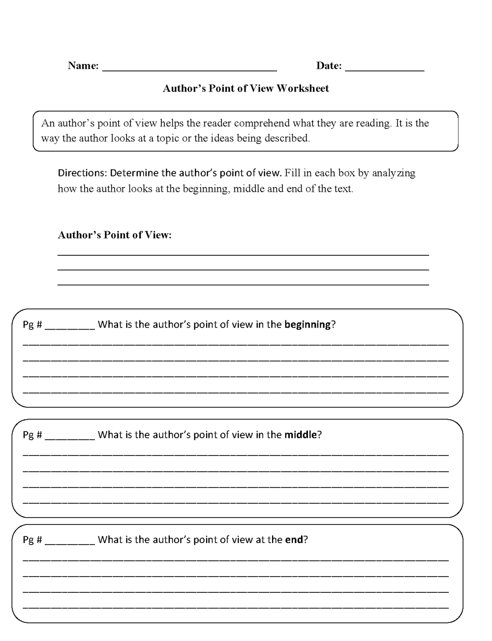medium resolution of Point of View Worksheets   Author's Point of View Worksheets