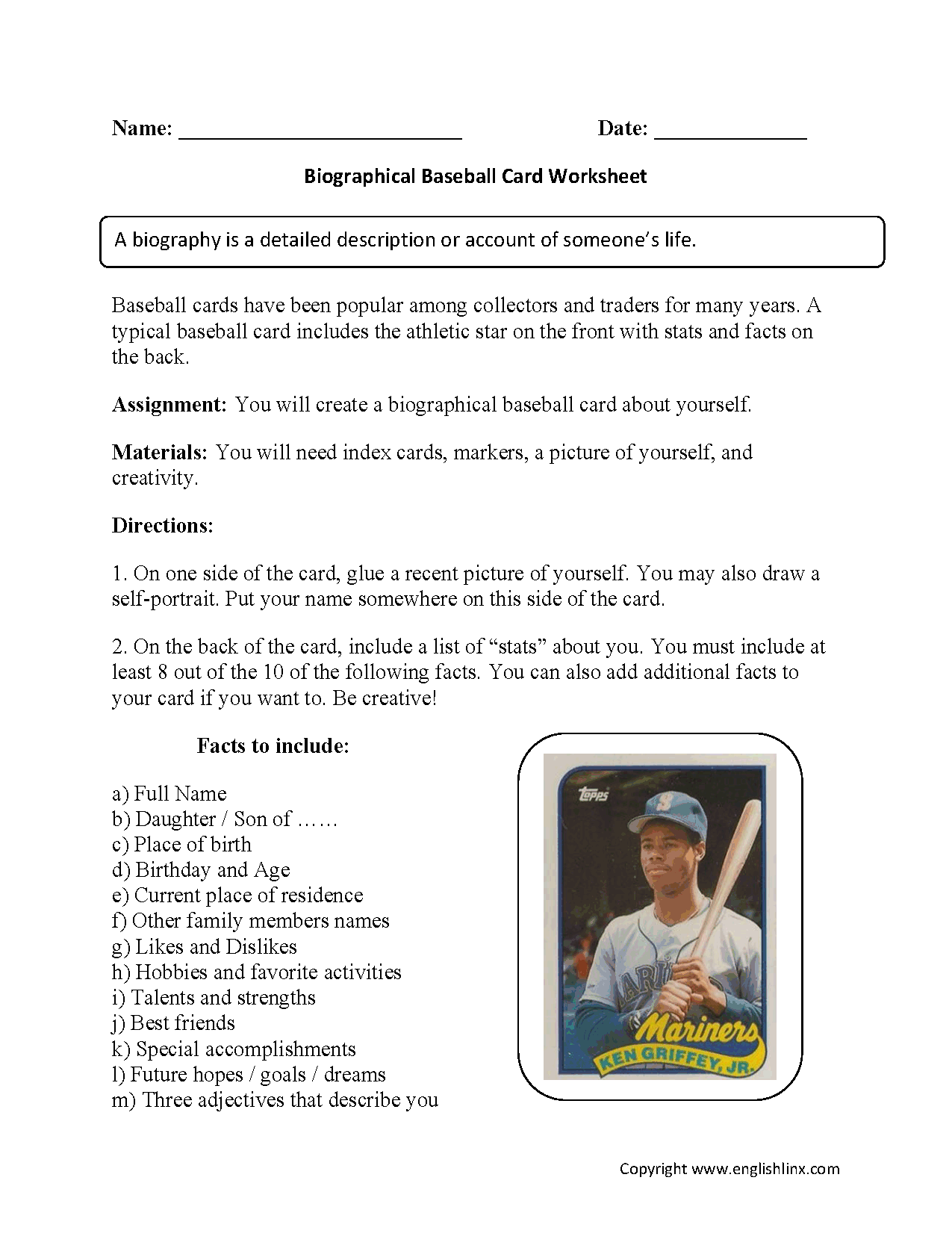 hight resolution of Back to School Worksheets   Biography Baseball Card Back to School  Worksheets