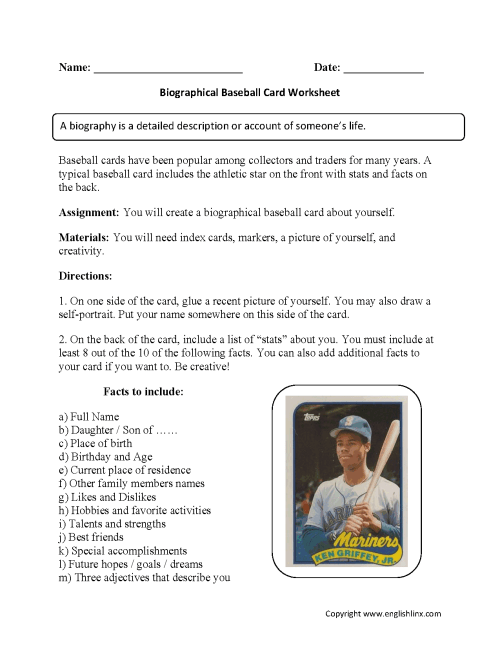 small resolution of Back to School Worksheets   Biography Baseball Card Back to School  Worksheets