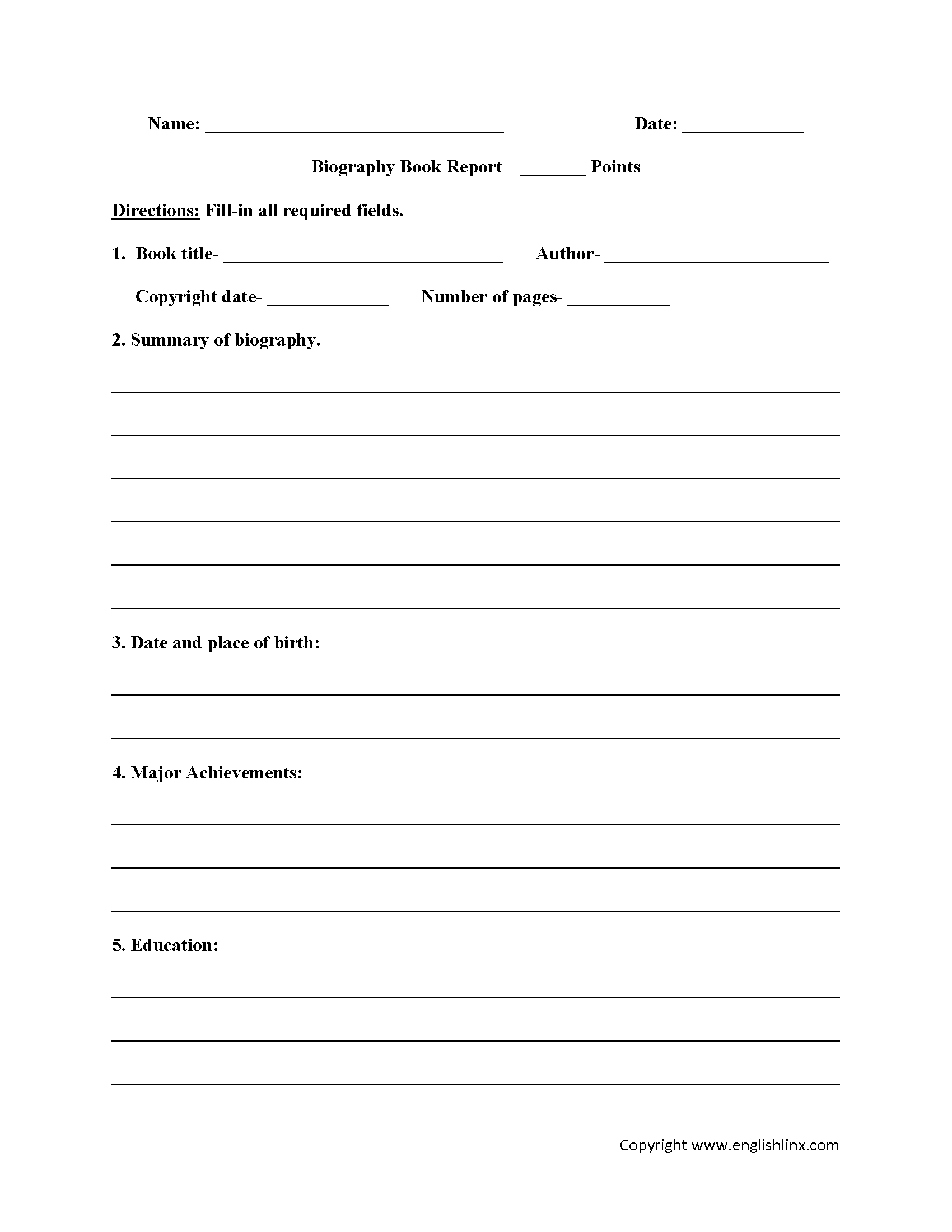 3rd Grade Biography Report Template
