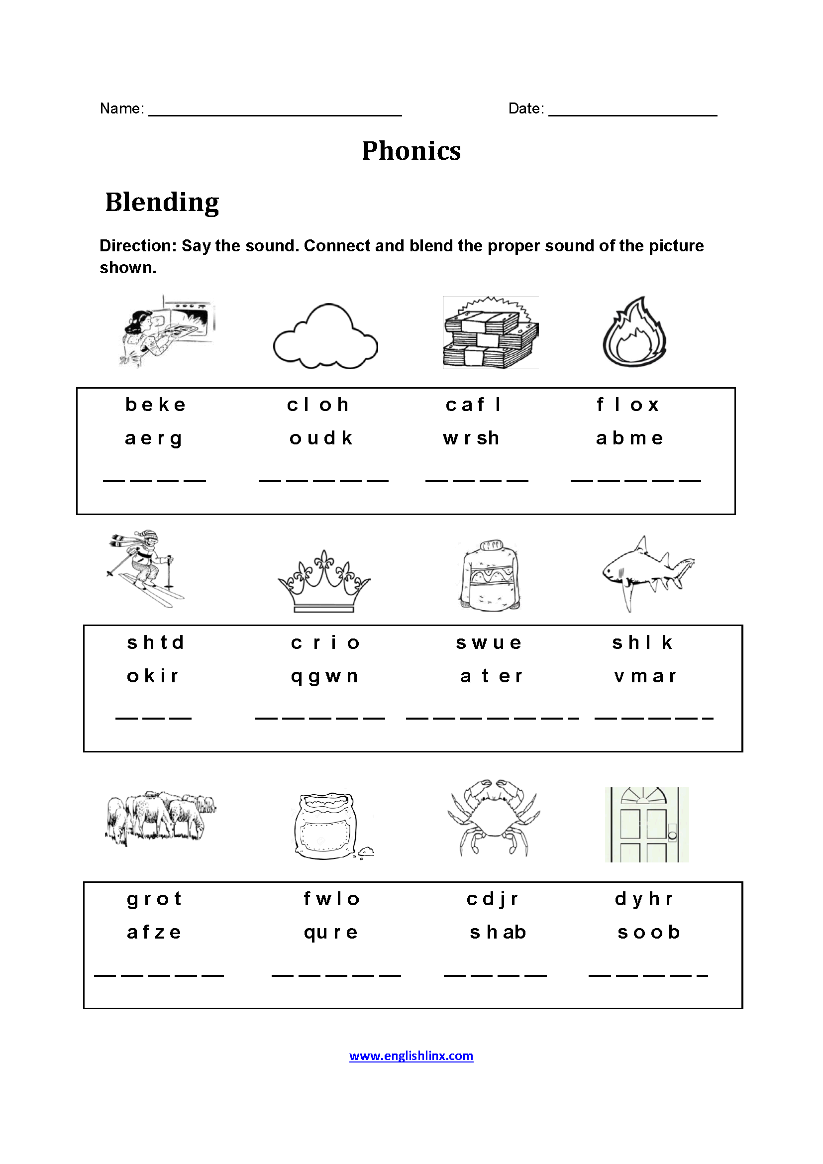 Blends Printable Worksheet Middle