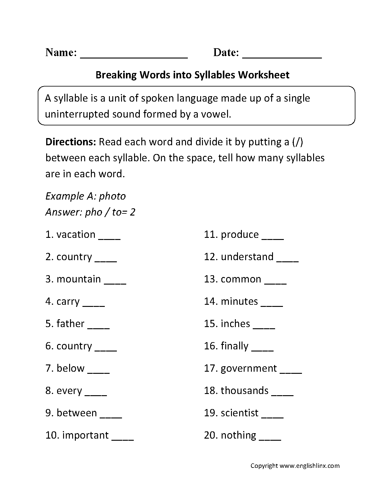 hight resolution of Englishlinx.com   Syllables Worksheets