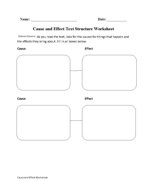 small resolution of Text Structure Worksheets   Cause and Effect Text Structure Worksheets