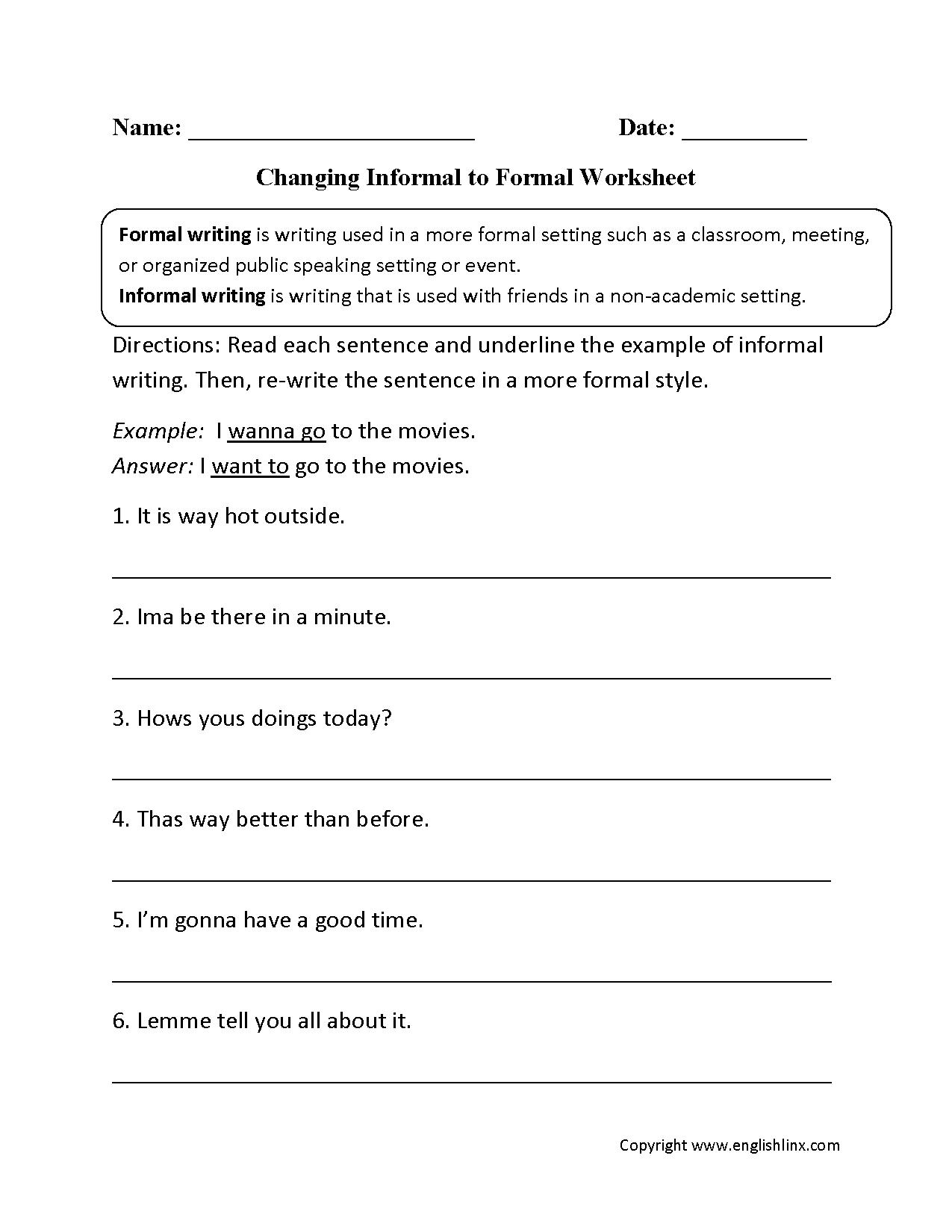 Word Usage Worksheets