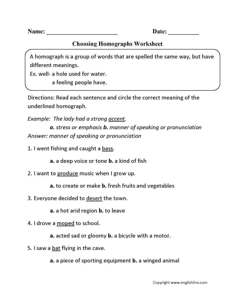 medium resolution of Vocabulary Worksheets   Homograph Worksheets