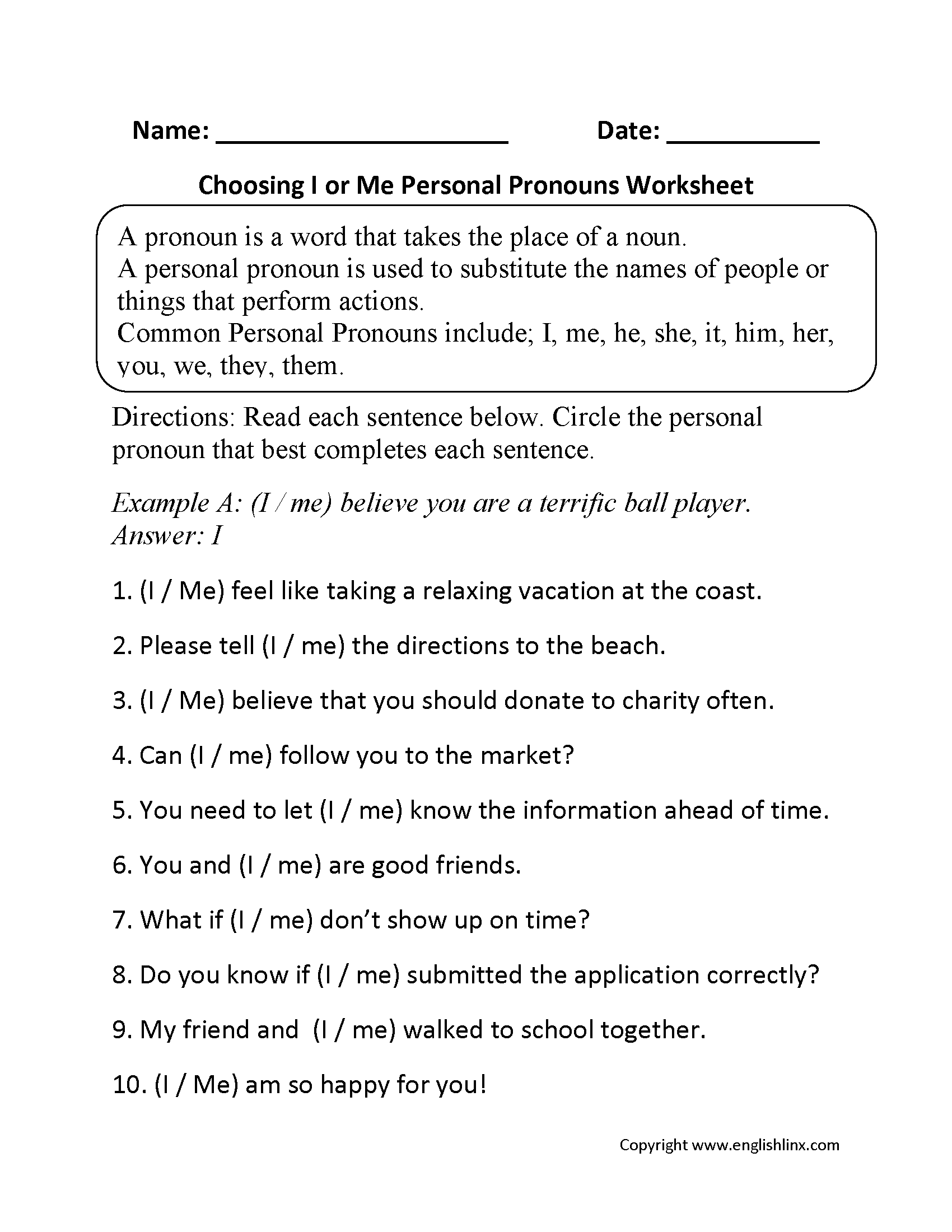 Personal Pronouns Worksheets