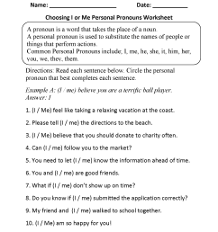 Personal Pronouns Exercises For Grade 6   Exercise [ 2200 x 1700 Pixel ]
