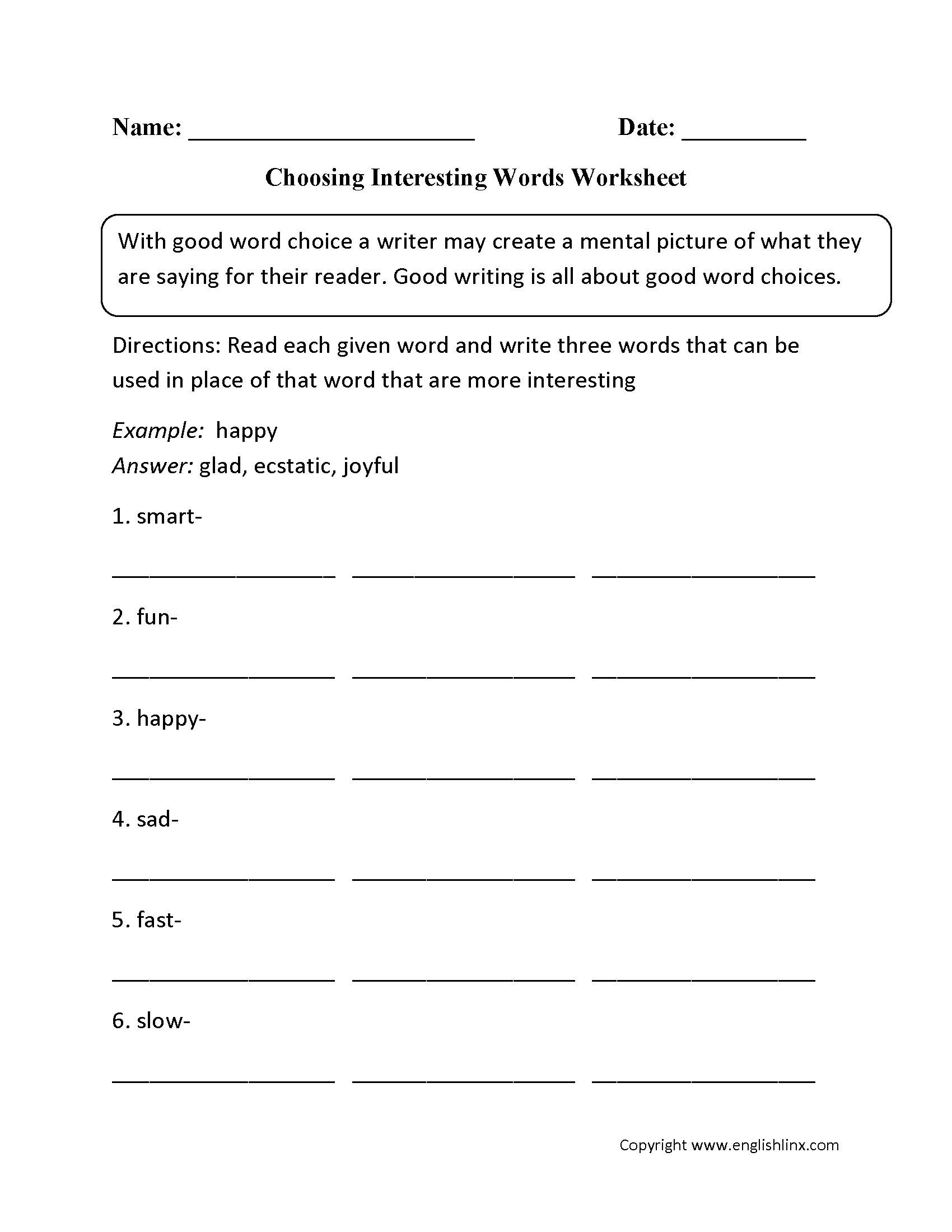 Word Usage Worksheets