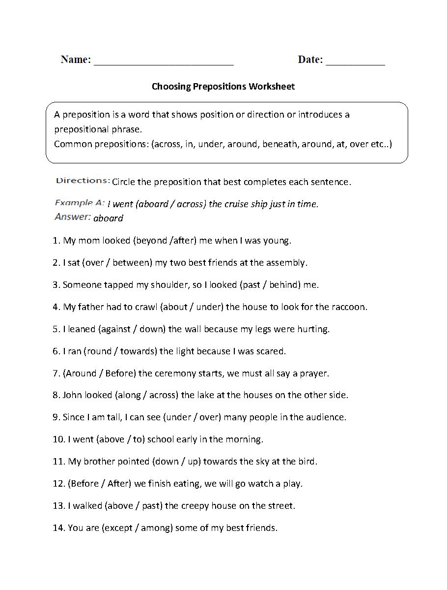 hight resolution of Prepositional Phrases Worksheets   Choosing Prepositions Worksheet