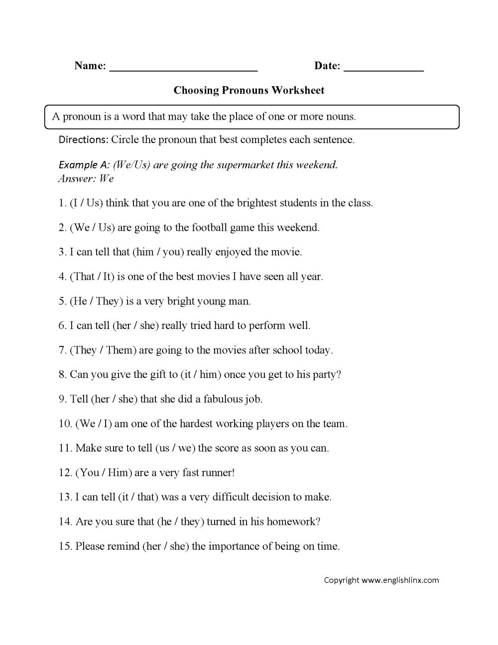 medium resolution of Word Usage Worksheets   Pronoun Agreement Worksheets