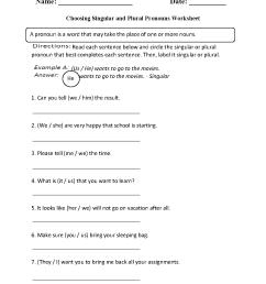 Singular and Plural Pronouns Worksheets   Choosing Singular or Plural Pronouns  Worksheet [ 1331 x 1003 Pixel ]