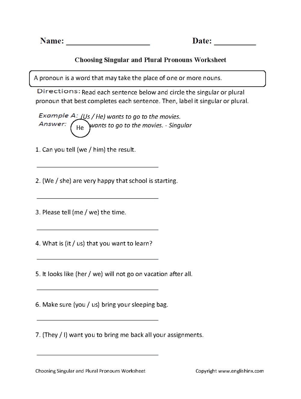 medium resolution of Singular and Plural Pronouns Worksheets   Choosing Singular or Plural Pronouns  Worksheet