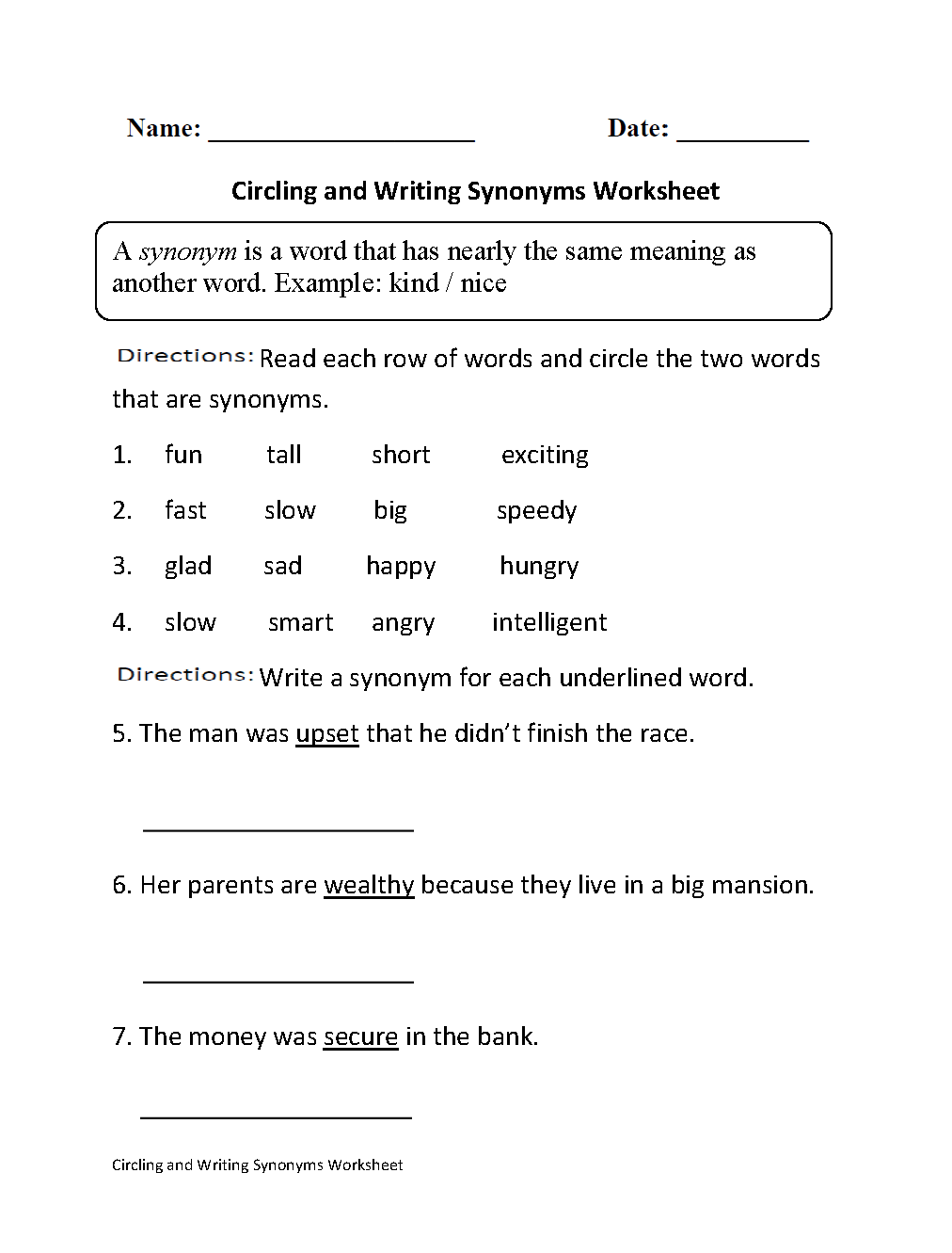 hight resolution of Synonyms Worksheets   Circling and Writing Synonyms Worksheet