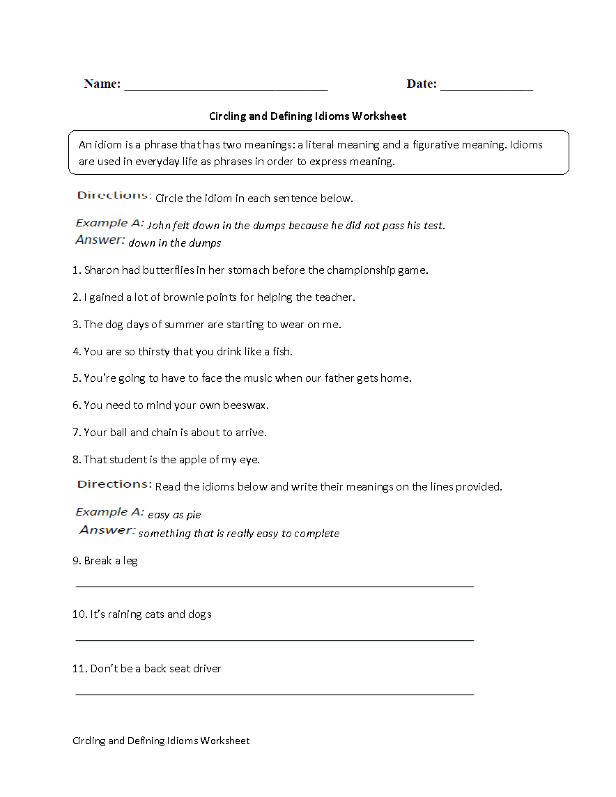 hight resolution of Englishlinx.com   Idioms Worksheets