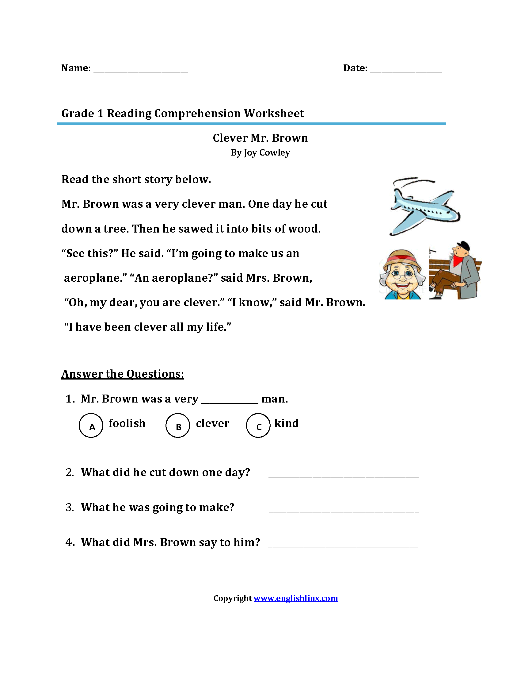 Worksheets Free Reading Comprehension Worksheets For 1st