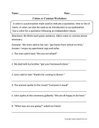 Punctuation Worksheets | Colon Worksheets