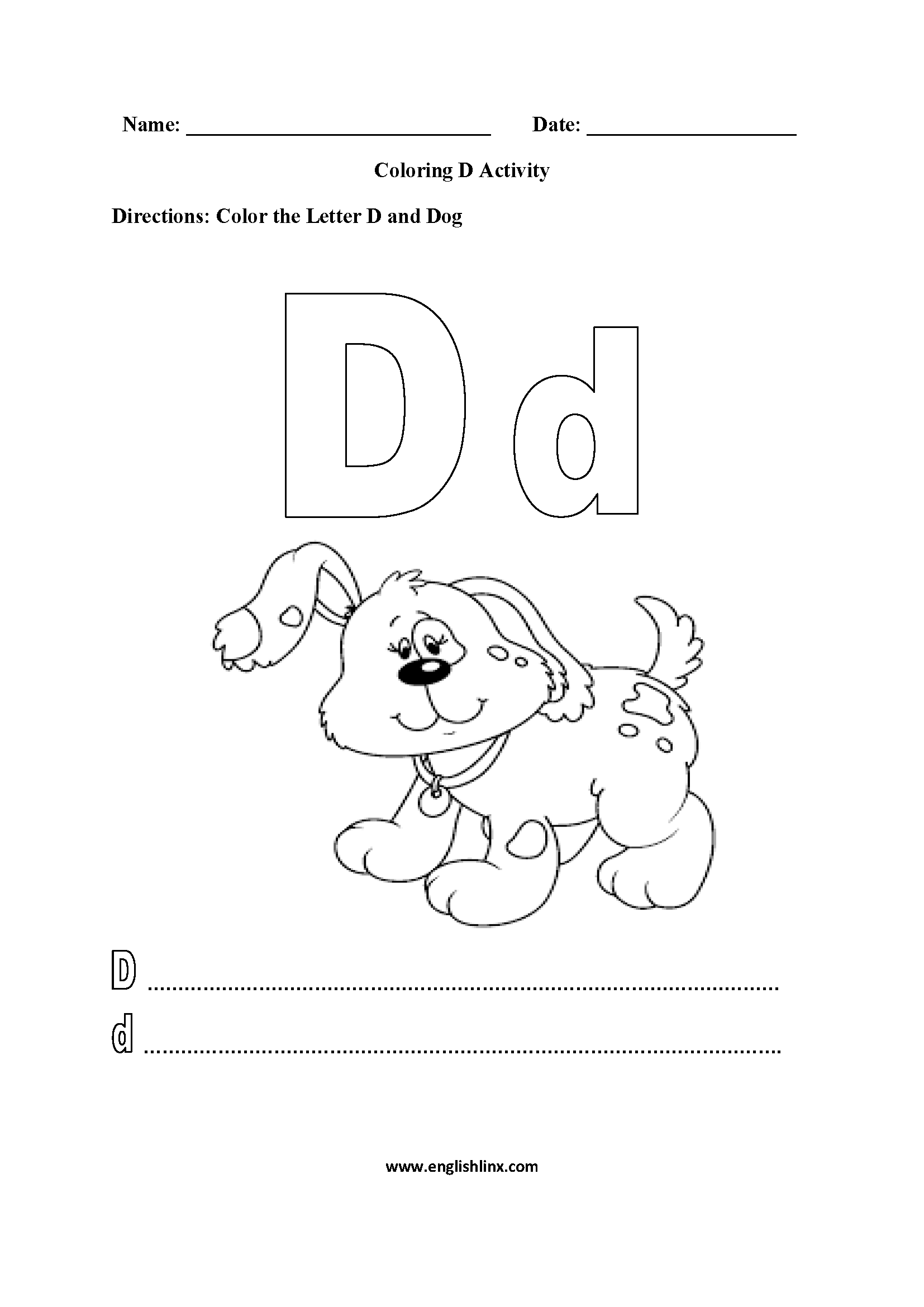 Alphabet Worksheet Color Words