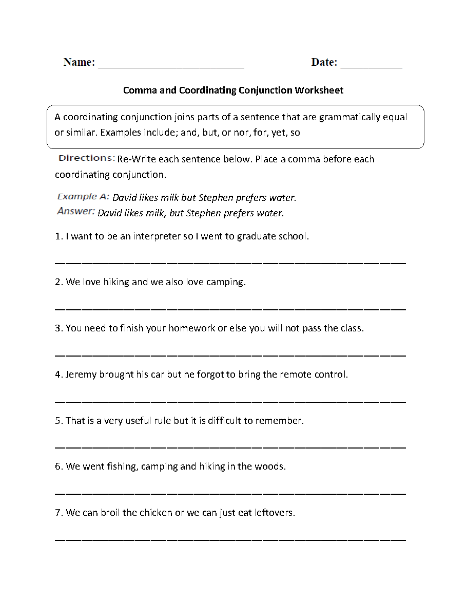 hight resolution of Punctuation Worksheets   Comma Worksheets