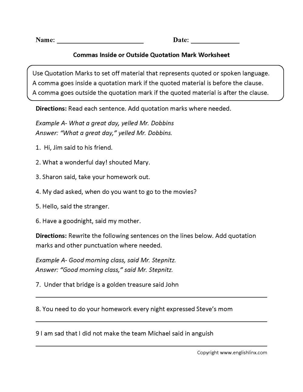 medium resolution of Punctuation Worksheets   Quotation Mark Worksheets