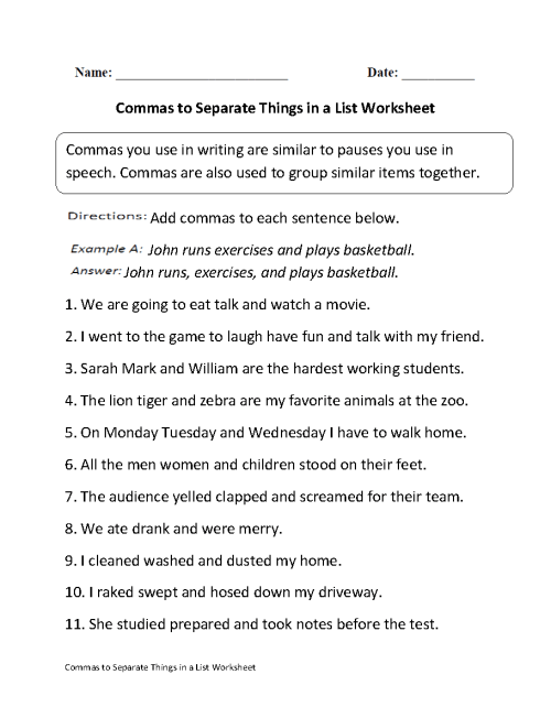 small resolution of Commas Worksheets   Commas Separate Things in List Worksheet
