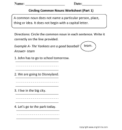Nouns Worksheets   Proper and Common Nouns Worksheets [ 1540 x 1207 Pixel ]
