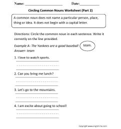 Proper and Common Nouns Worksheets   Circling Common Nouns Worksheet Part 2 [ 1540 x 1207 Pixel ]