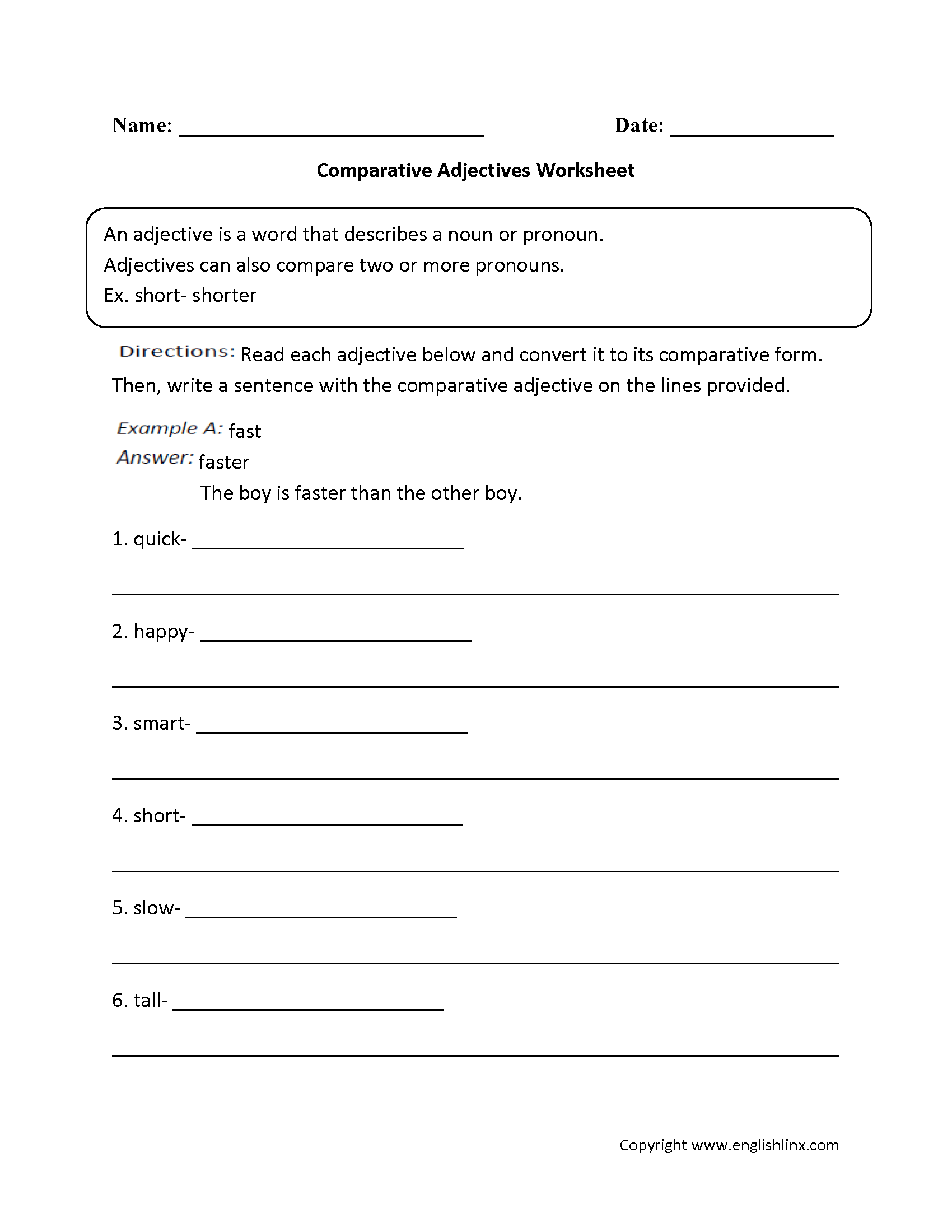 Comparative Adjectives Worksheets 4th Grade