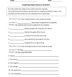 Sentences Worksheets   Simple Sentences Worksheets [ 1199 x 910 Pixel ]