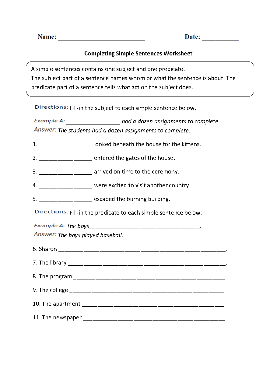 medium resolution of Sentences Worksheets   Simple Sentences Worksheets