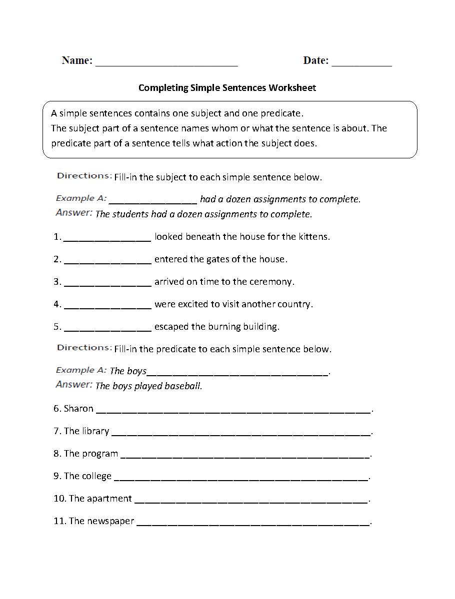 hight resolution of Sentences Worksheets   Simple Sentences Worksheets