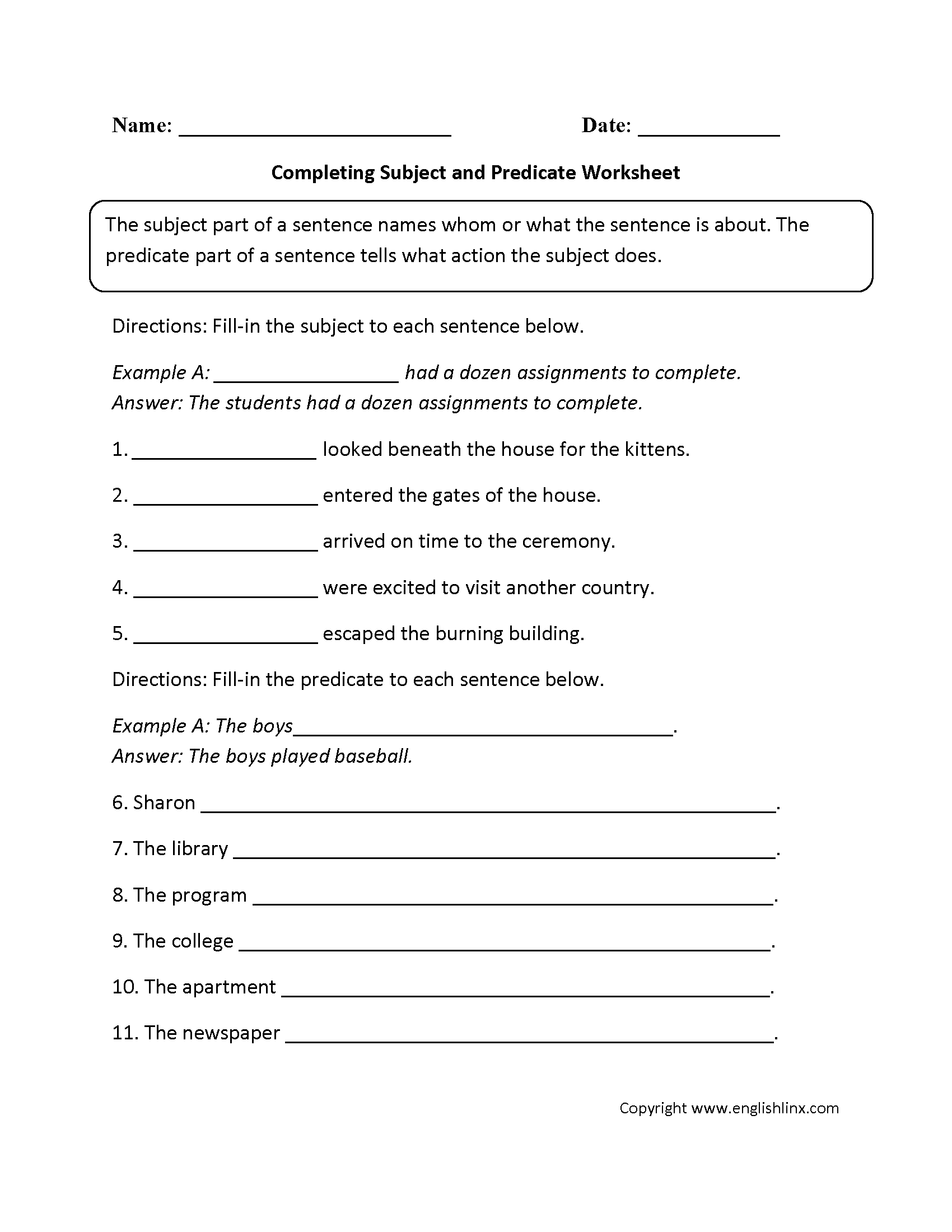 hight resolution of 4th Grade Subject And Predicate Worksheet - Nidecmege