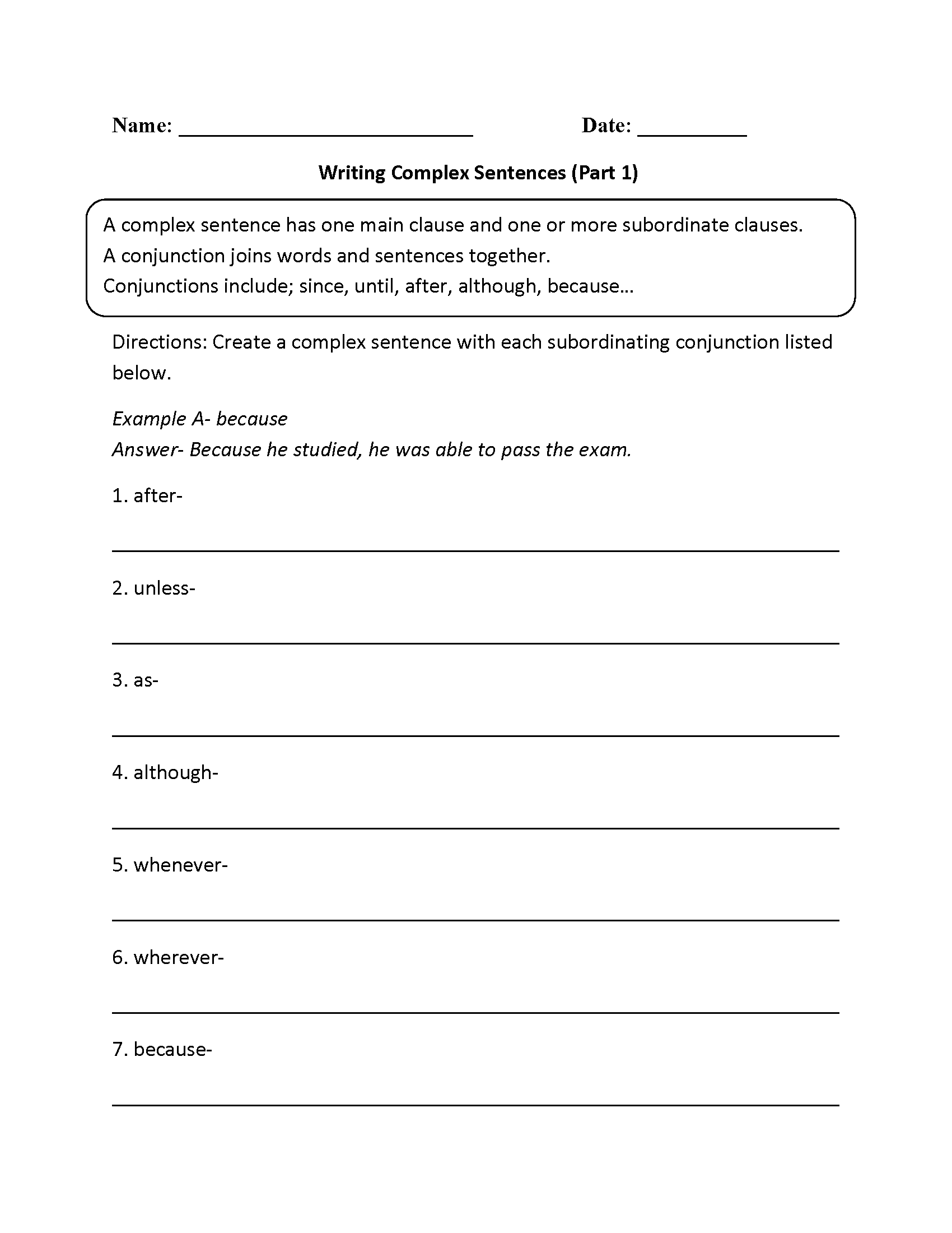 hight resolution of Complex Sentences Worksheets   Complex Sentences Worksheet Writing Sentences