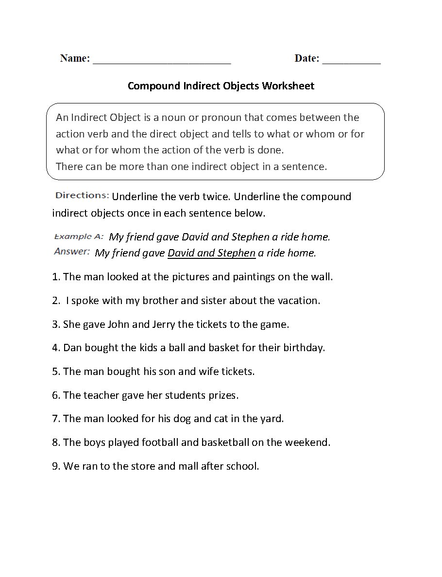 medium resolution of Direct and Indirect Object Worksheets   Compound Indirect Objects Worksheet