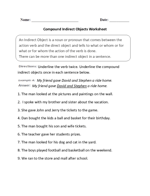 small resolution of Direct and Indirect Object Worksheets   Compound Indirect Objects Worksheet