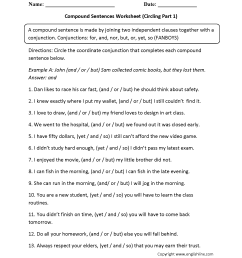 Compound Sentences Worksheets   Circling Compound Sentences Worksheet [ 2200 x 1700 Pixel ]
