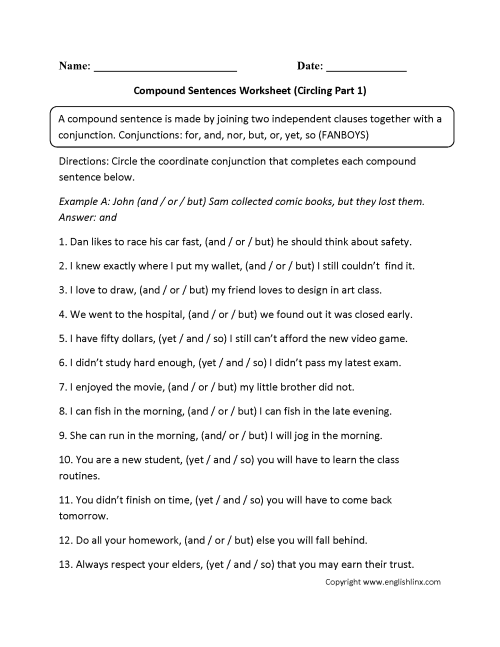 small resolution of Compound Sentences Worksheets   Circling Compound Sentences Worksheet